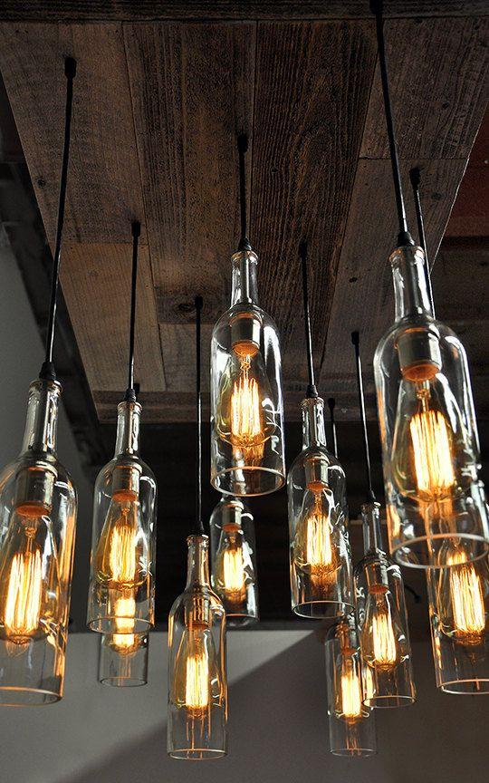 lámparas con botellas de cristal