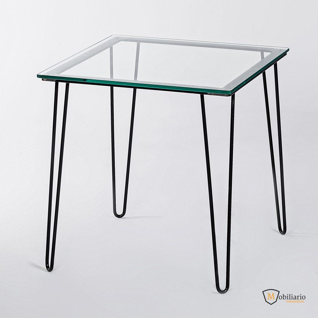 Mesa para hostelería de 2-4 comensales de cristal y acero lacado transparente Tangú