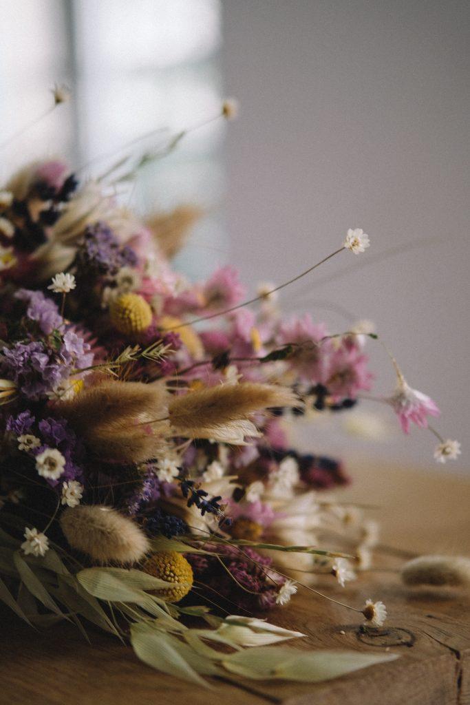 Flores secas luz y el espacio