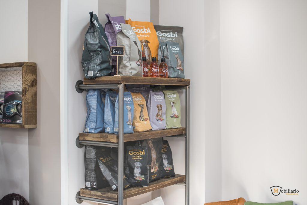 estanterías metálicas decoración mobiliario peluquería canina