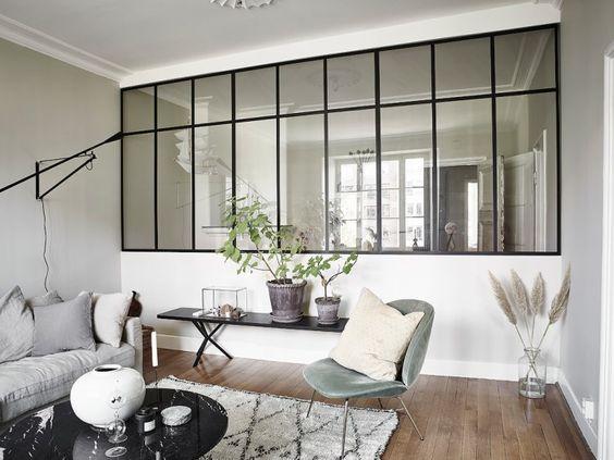 mampara separadora espacios casa