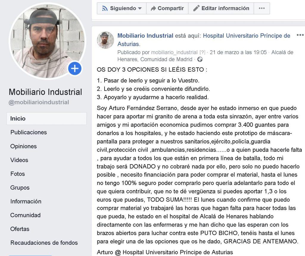 petición por facebook de donaciones